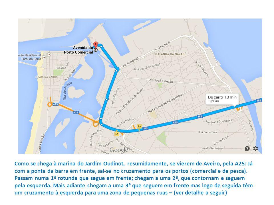 Como se chega à marina do Jardim Oudinot, resumidamente, se vierem de Aveiro, pela A25: Já com a ponte da barra em frente, sai-se no cruzamento para os portos (comercial e de pesca).