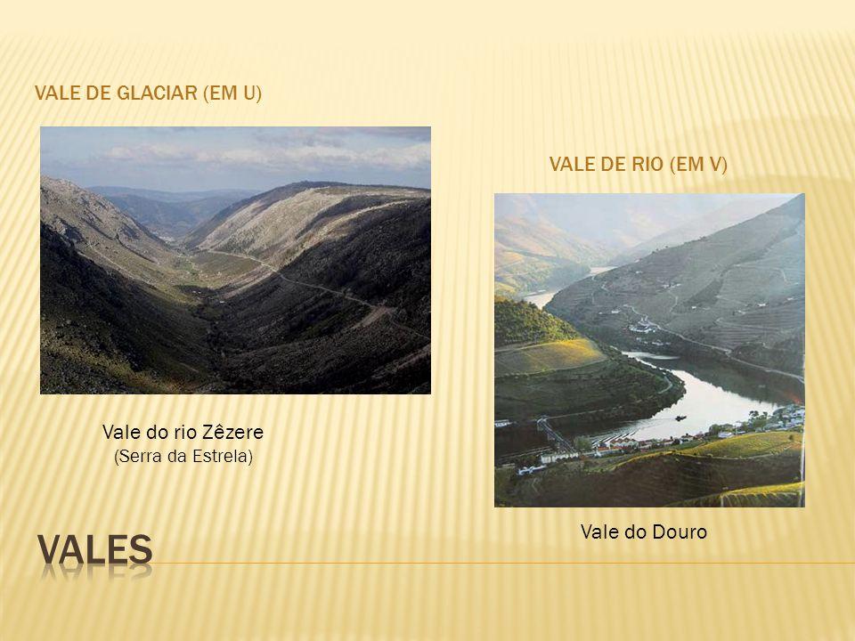 Vales Vale de Glaciar (em U) Vale de Rio (em V) Vale do rio Zêzere