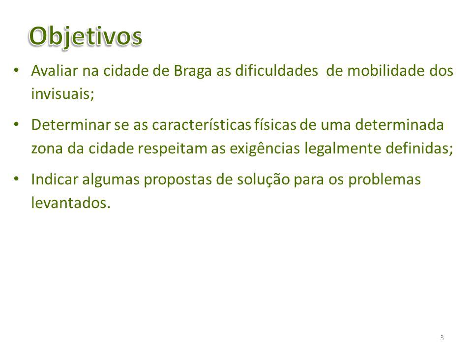 Objetivos Avaliar na cidade de Braga as dificuldades de mobilidade dos invisuais;