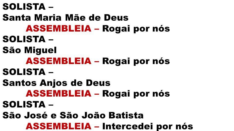 SOLISTA – Santa Maria Mãe de Deus. ASSEMBLEIA – Rogai por nós. São Miguel. Santos Anjos de Deus.