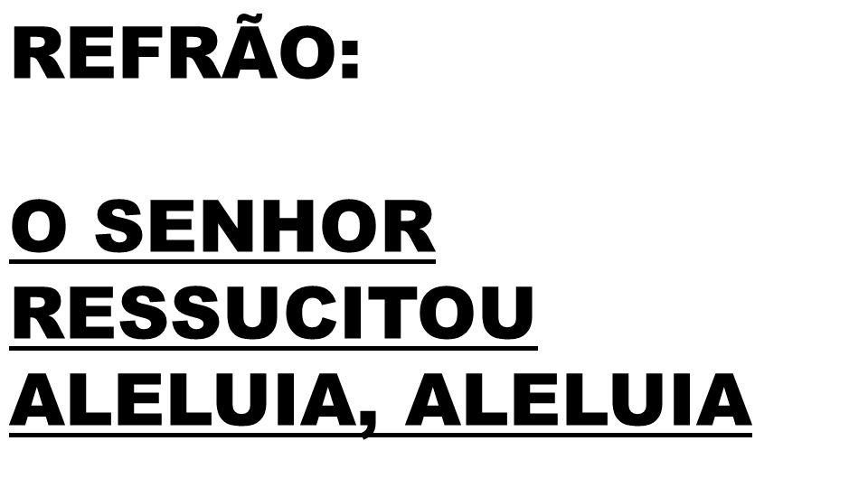 REFRÃO: O SENHOR RESSUCITOU ALELUIA, ALELUIA