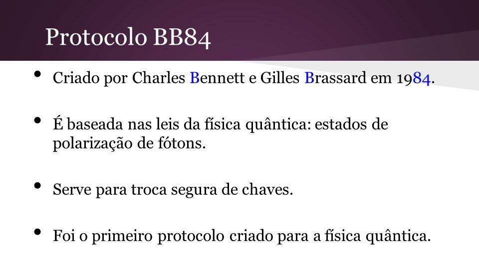 Protocolo BB84 Criado por Charles Bennett e Gilles Brassard em 1984.