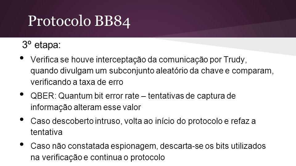Protocolo BB84 3º etapa: