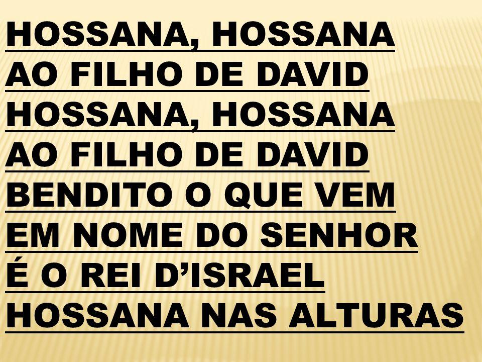 HOSSANA, HOSSANA AO FILHO DE DAVID. BENDITO O QUE VEM.