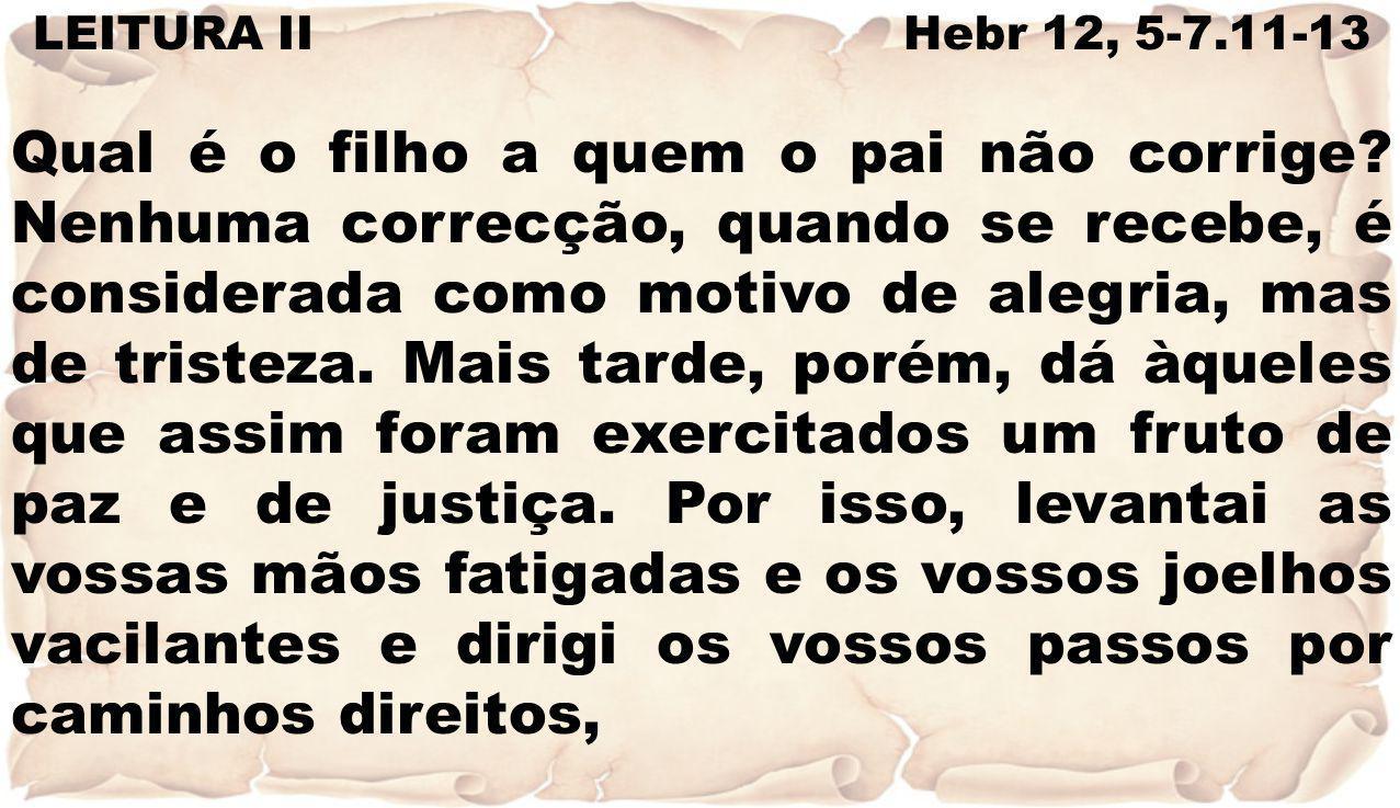 LEITURA II Hebr 12, 5-7.11-13
