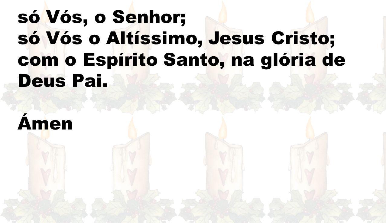 só Vós, o Senhor; só Vós o Altíssimo, Jesus Cristo; com o Espírito Santo, na glória de Deus Pai.