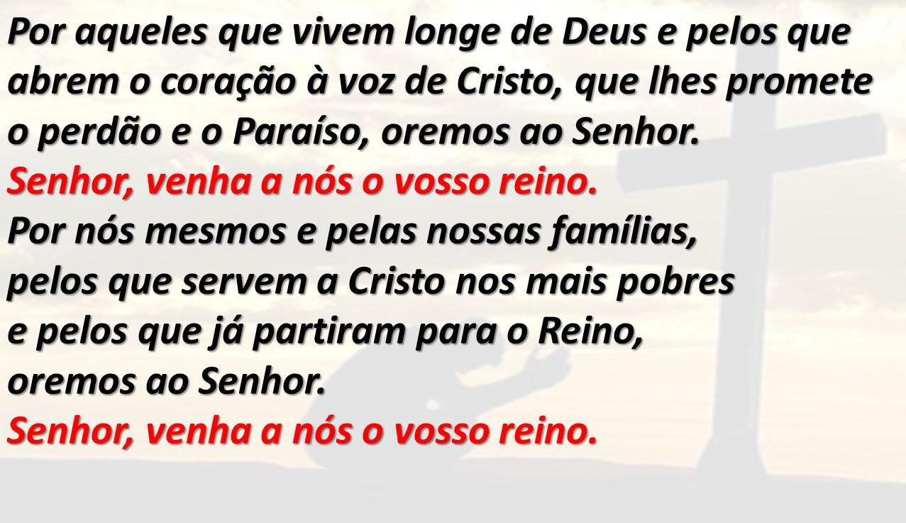 Por aqueles que vivem longe de Deus e pelos que abrem o coração à voz de Cristo, que lhes promete o perdão e o Paraíso, oremos ao Senhor.