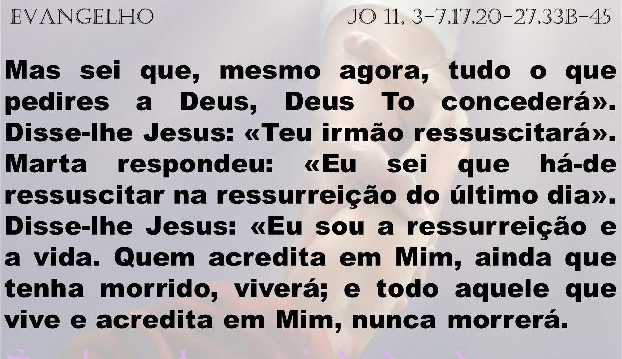 EVANGELHO Jo 11, 3-7.17.20-27.33b-45
