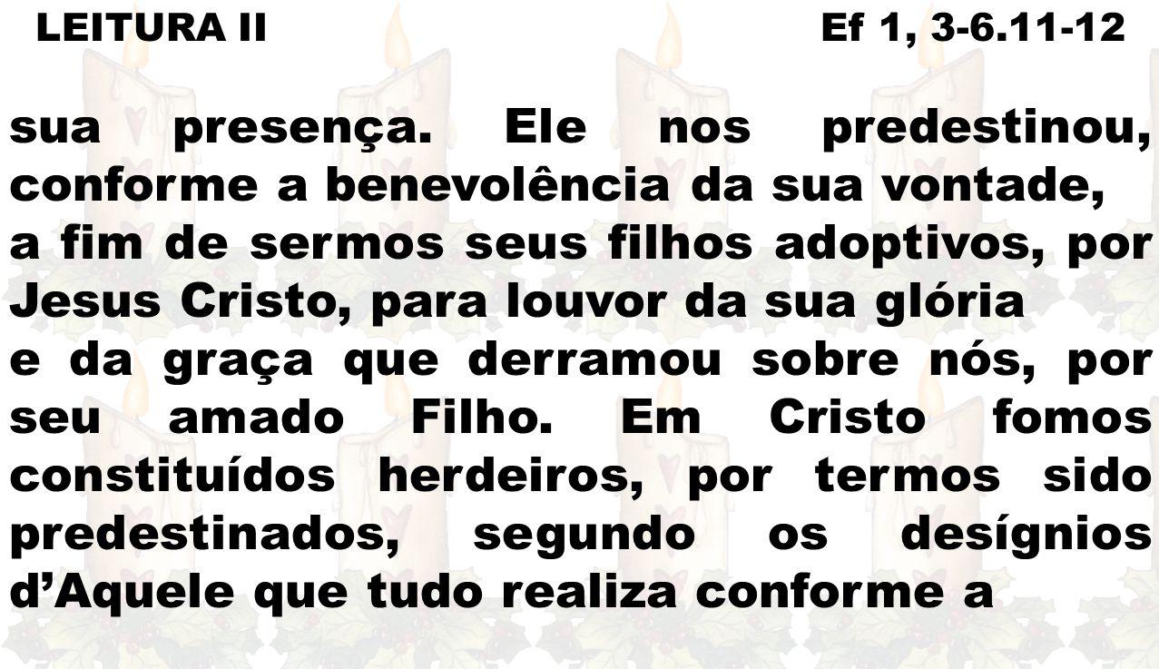 LEITURA II Ef 1, 3-6.11-12 sua presença. Ele nos predestinou, conforme a benevolência da sua vontade,