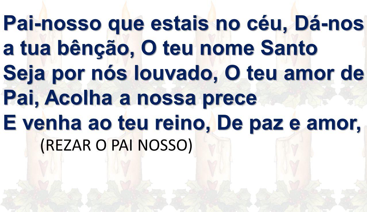 Pai-nosso que estais no céu, Dá-nos a tua bênção, O teu nome Santo