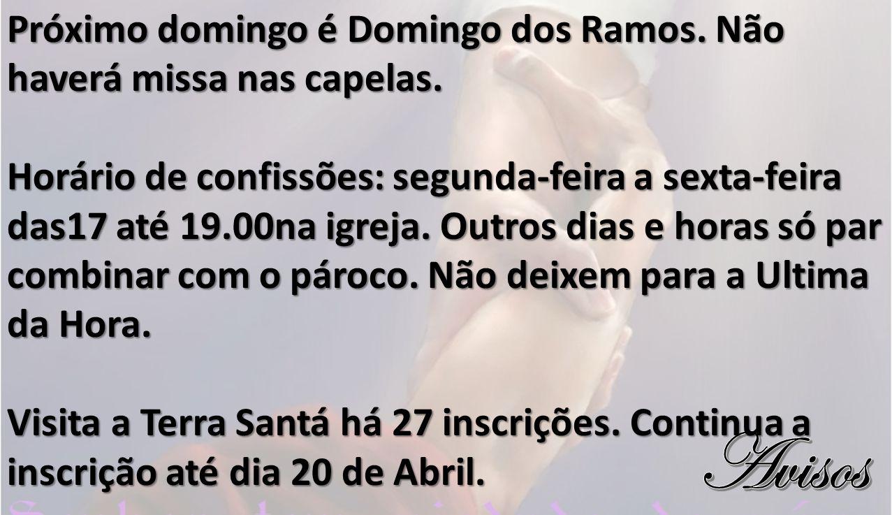 Próximo domingo é Domingo dos Ramos. Não haverá missa nas capelas.