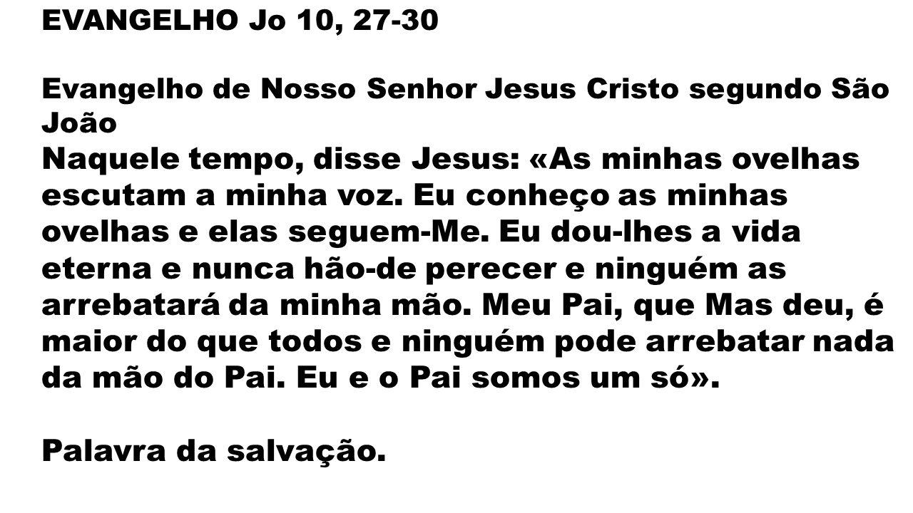 Palavra da salvação. EVANGELHO Jo 10, 27-30