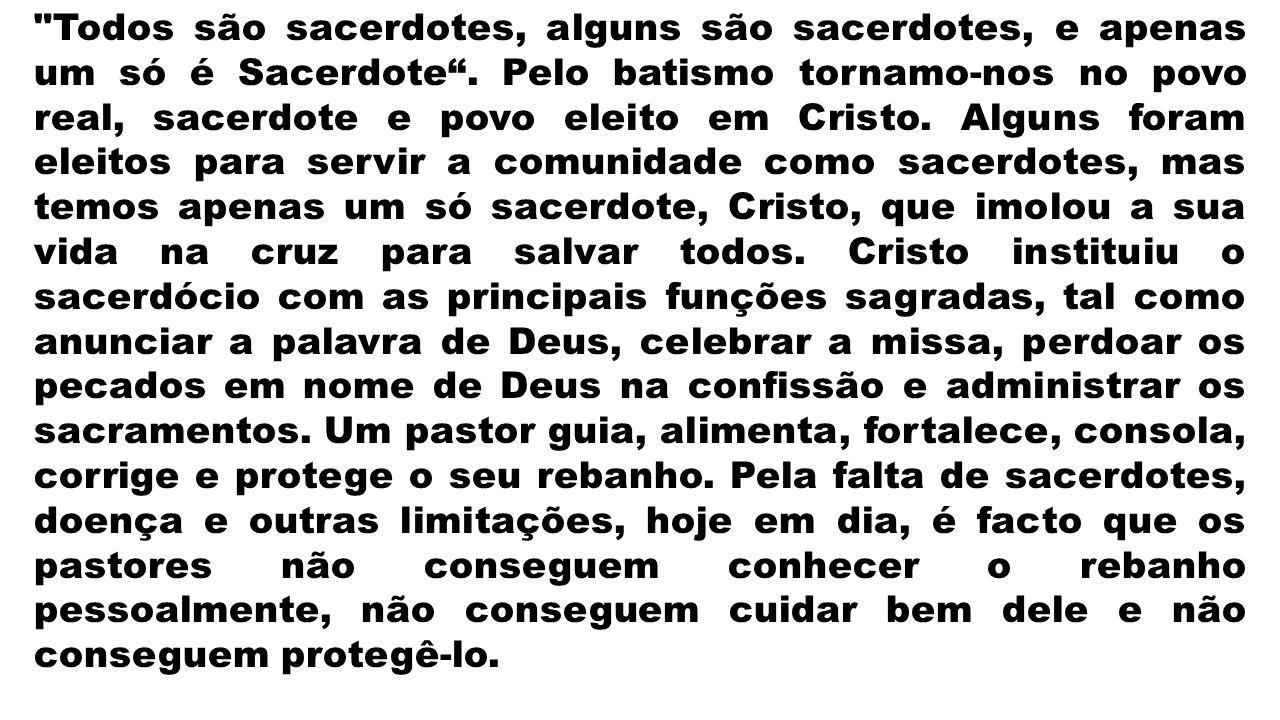Todos são sacerdotes, alguns são sacerdotes, e apenas um só é Sacerdote .