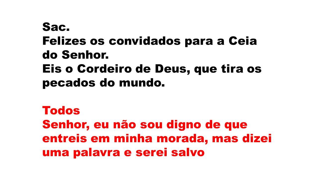 Sac. Felizes os convidados para a Ceia do Senhor. Eis o Cordeiro de Deus, que tira os pecados do mundo.