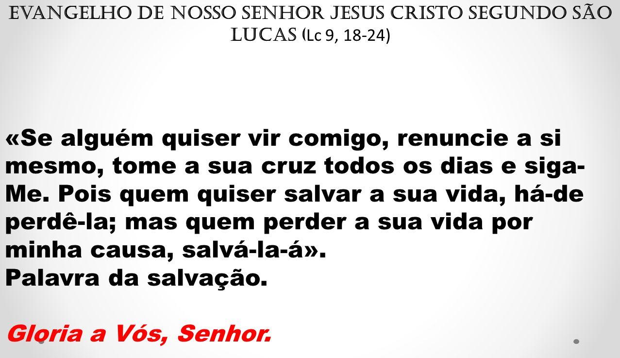 Evangelho de Nosso Senhor Jesus Cristo segundo São Lucas (Lc 9, 18-24)