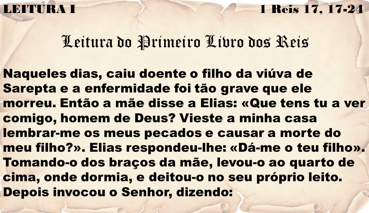 Leitura do Primeiro Livro dos Reis