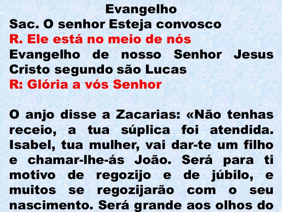 Evangelho Sac. O senhor Esteja convosco. R. Ele está no meio de nós. Evangelho de nosso Senhor Jesus Cristo segundo são Lucas.