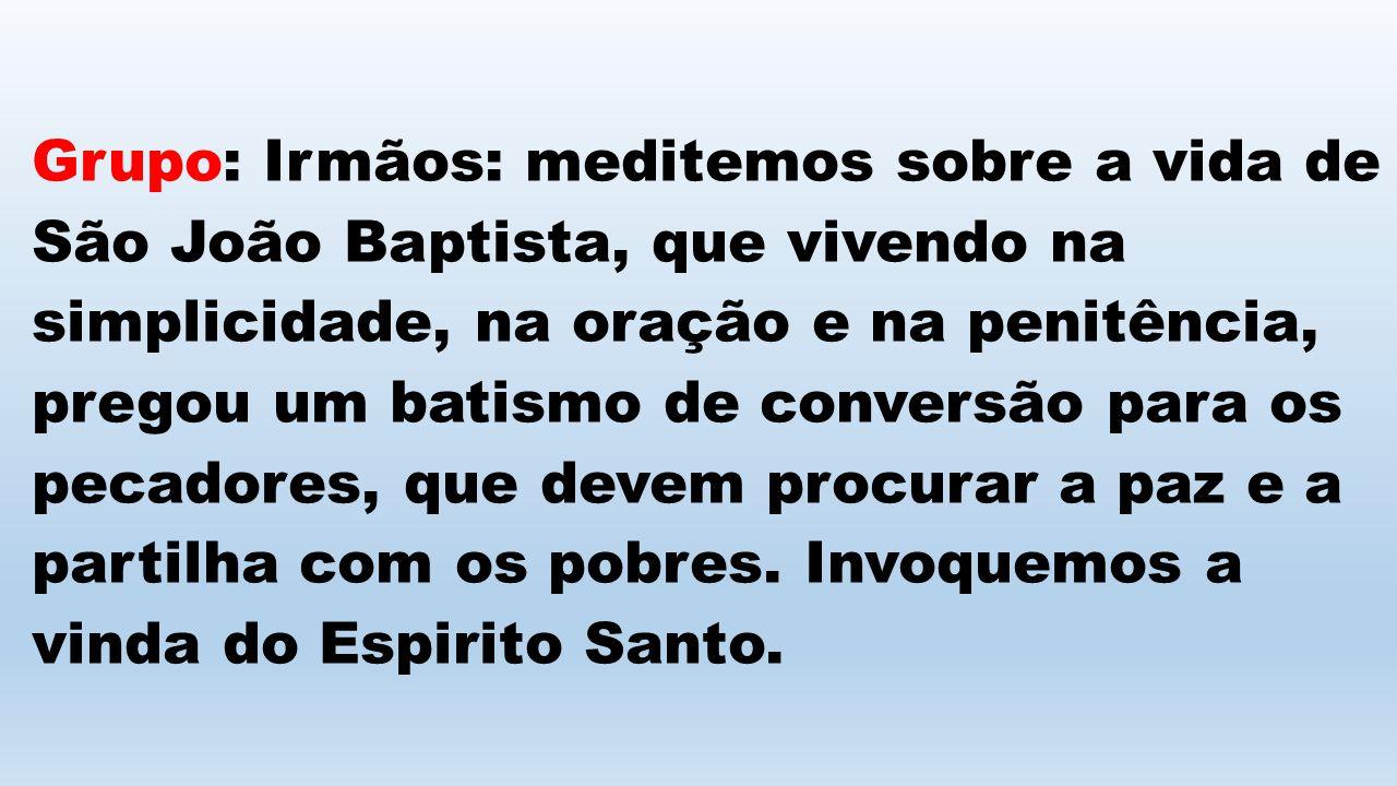 Grupo: Irmãos: meditemos sobre a vida de São João Baptista, que vivendo na simplicidade, na oração e na penitência, pregou um batismo de conversão para os pecadores, que devem procurar a paz e a partilha com os pobres.