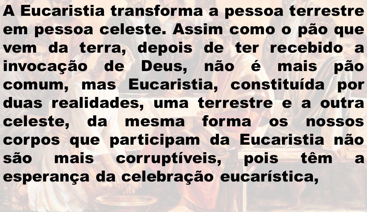 A Eucaristia transforma a pessoa terrestre em pessoa celeste