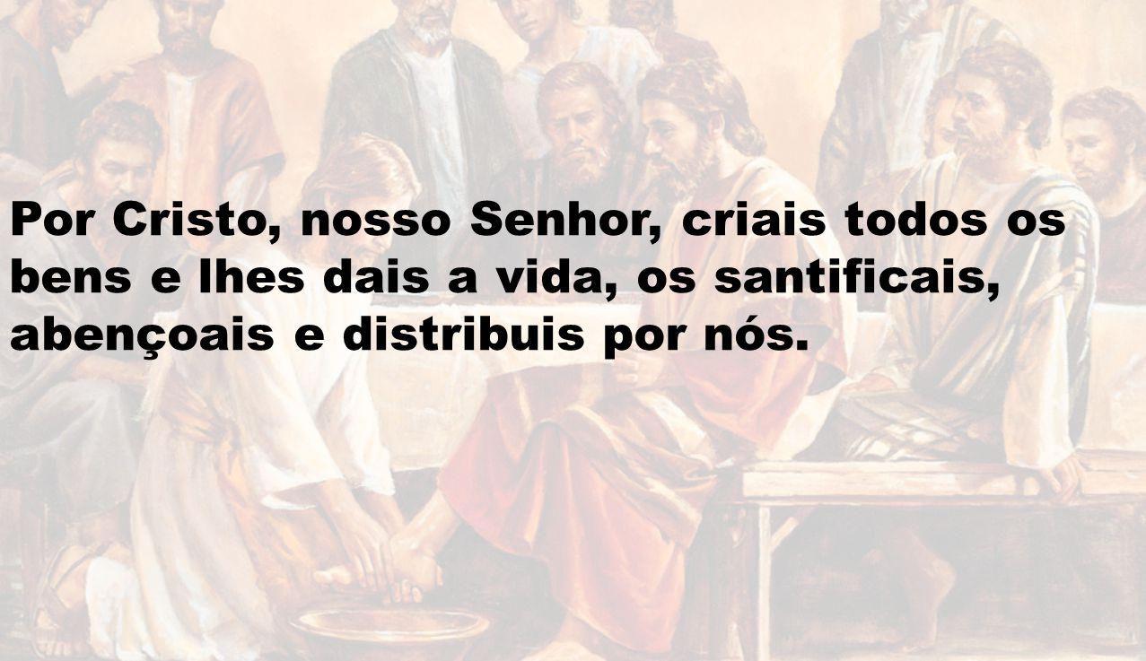 Por Cristo, nosso Senhor, criais todos os bens e lhes dais a vida, os santificais, abençoais e distribuis por nós.