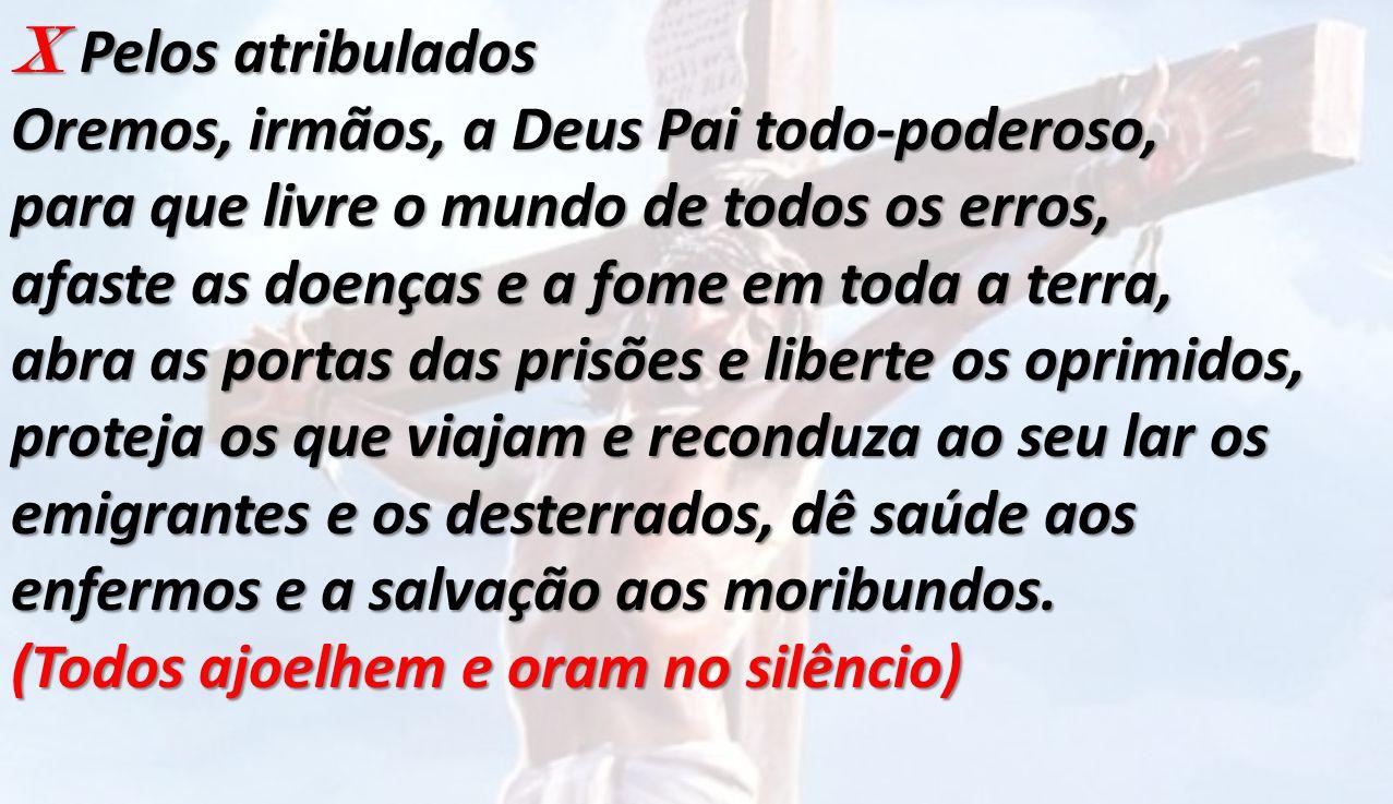 X Pelos atribulados Oremos, irmãos, a Deus Pai todo-poderoso,