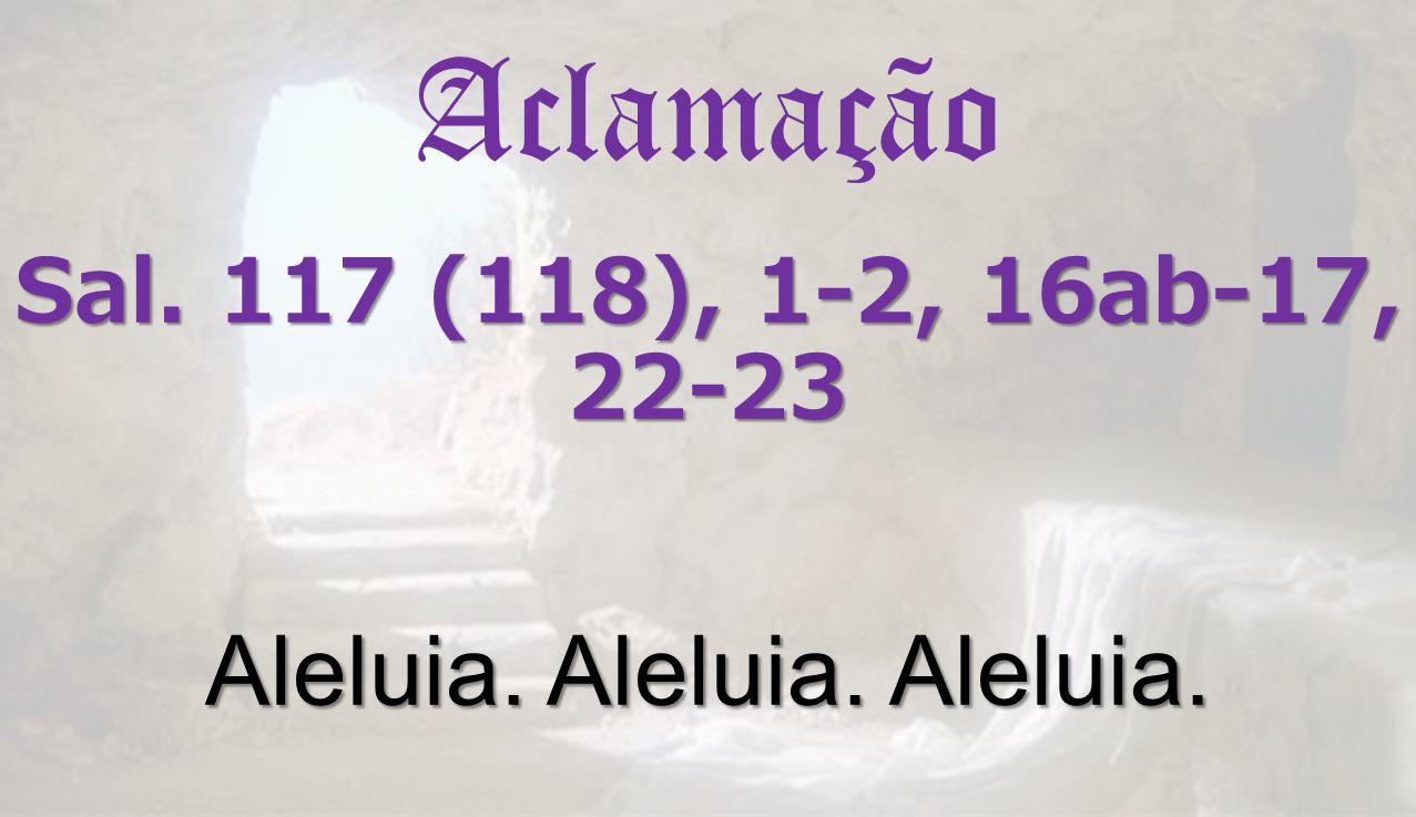 Aclamação Sal. 117 (118), 1-2, 16ab-17, 22-23 Aleluia. Aleluia. Aleluia.