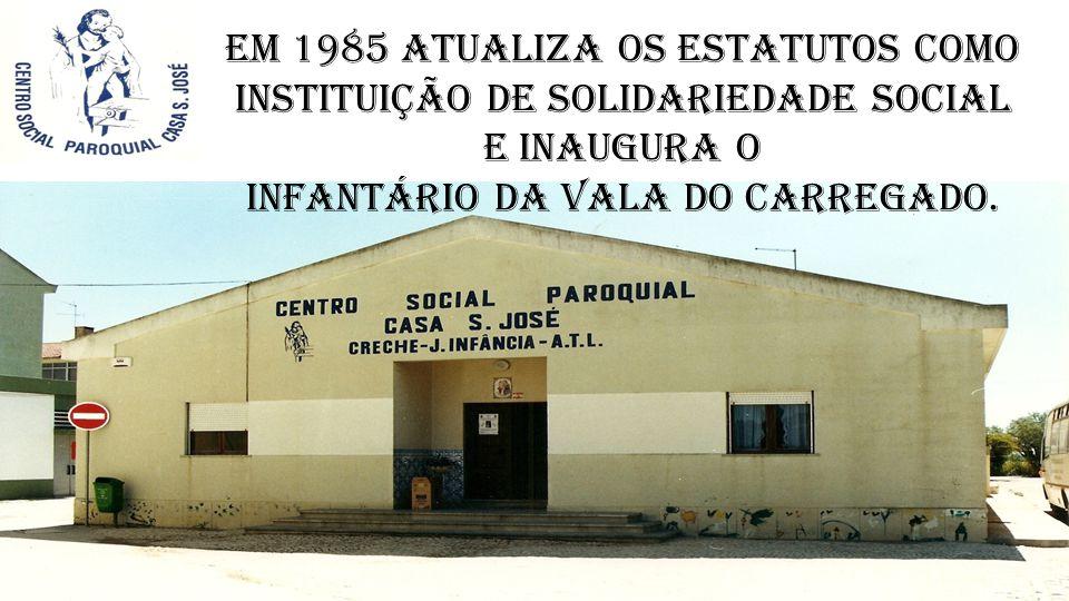 Em 1985 atualiza os estatutos como Instituição de Solidariedade Social e inaugura o Infantário da Vala do Carregado.