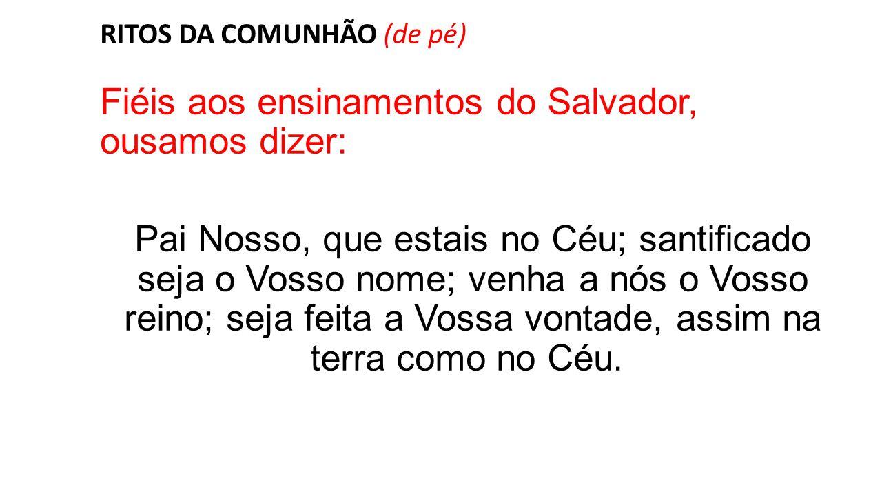 RITOS DA COMUNHÃO (de pé) Fiéis aos ensinamentos do Salvador, ousamos dizer: