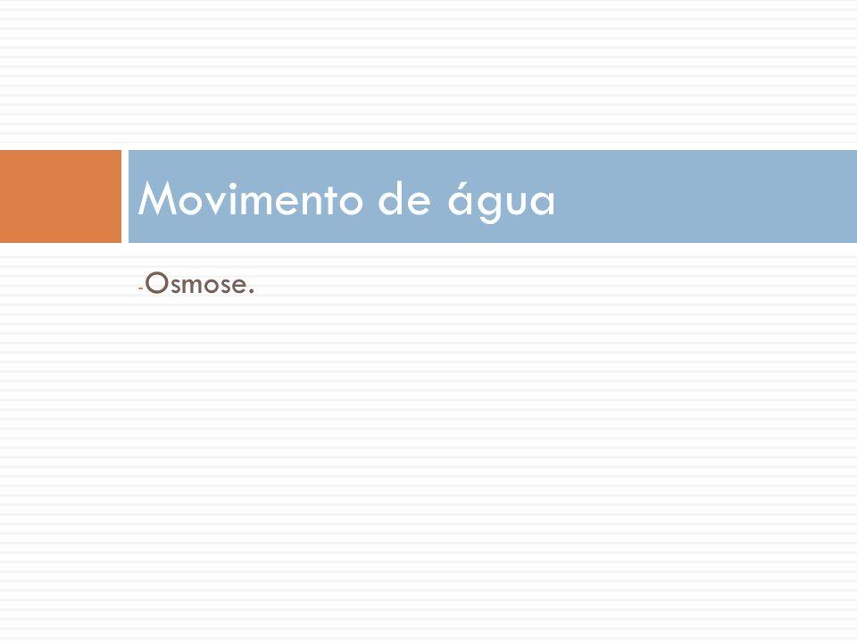 Movimento de água Osmose.
