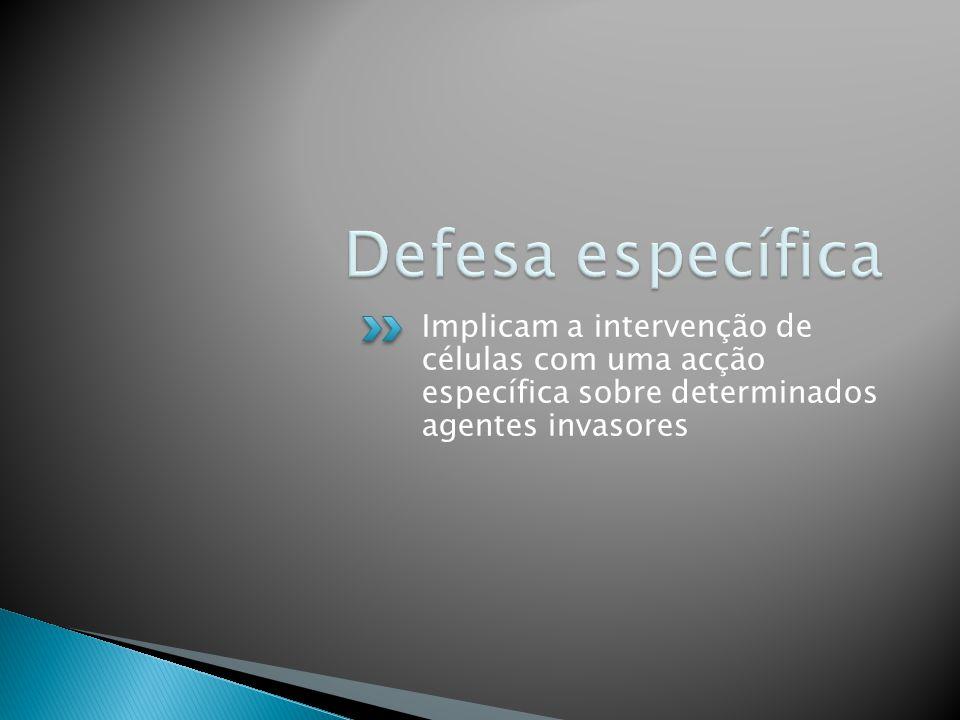 Defesa específica Implicam a intervenção de células com uma acção específica sobre determinados agentes invasores.