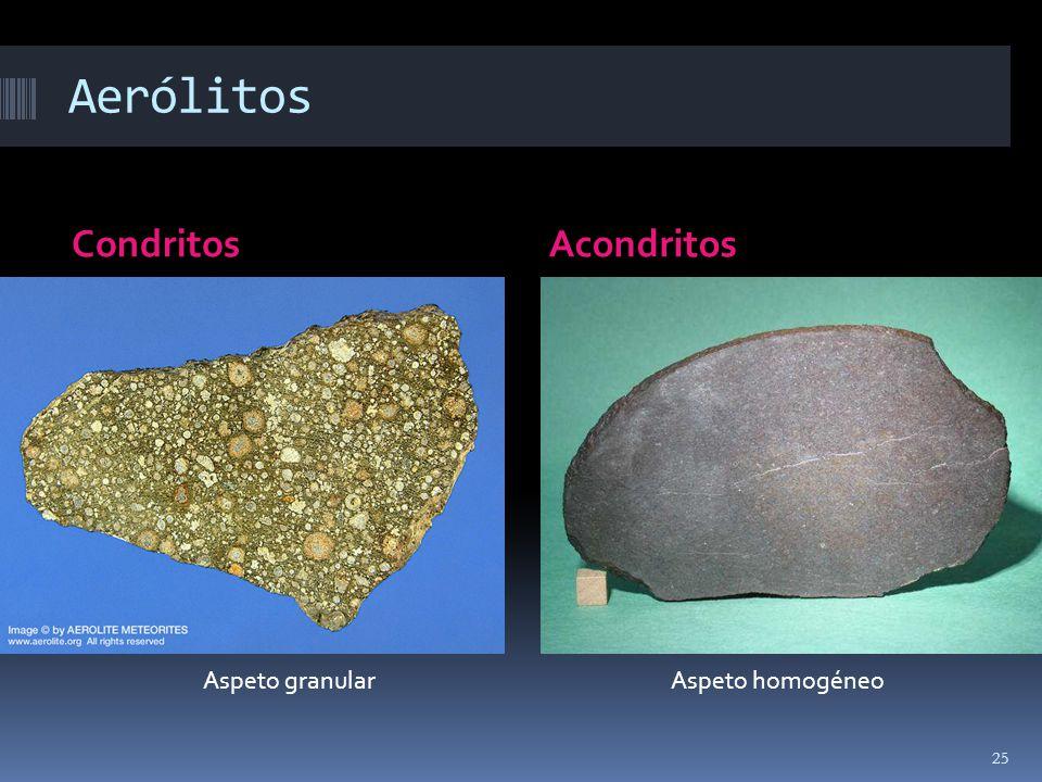 Aerólitos Condritos Acondritos Aspeto granular Aspeto homogéneo
