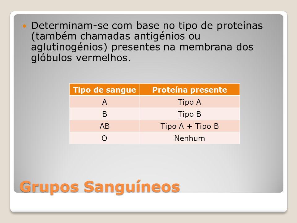 Determinam-se com base no tipo de proteínas (também chamadas antigénios ou aglutinogénios) presentes na membrana dos glóbulos vermelhos.