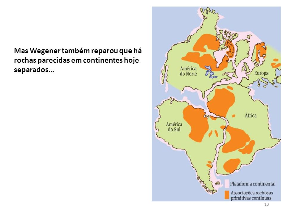 Mas Wegener também reparou que há rochas parecidas em continentes hoje separados…