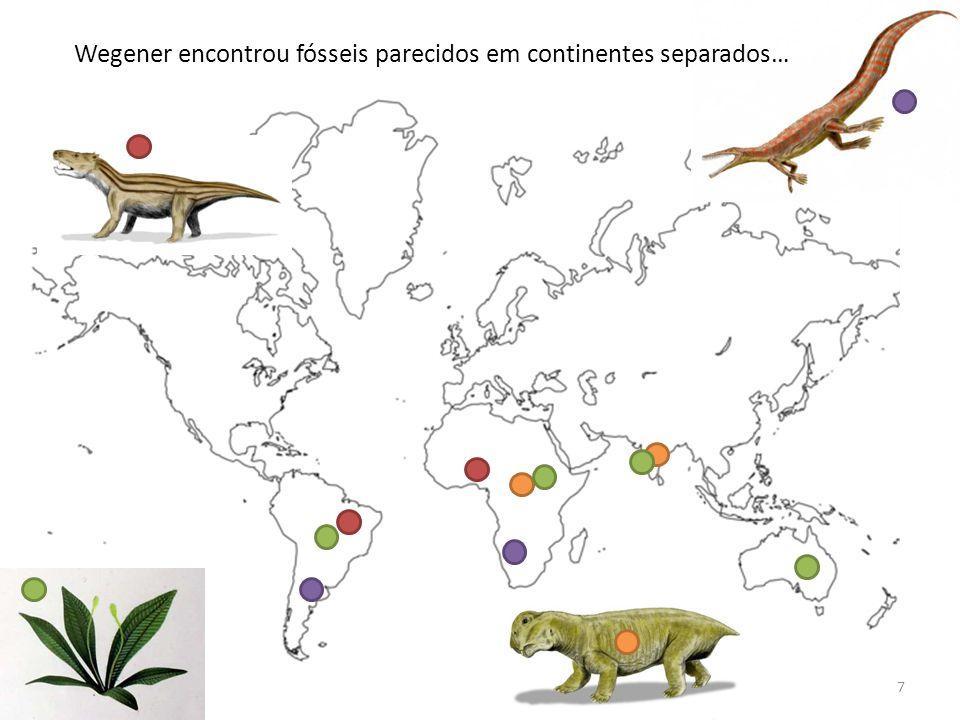 Wegener encontrou fósseis parecidos em continentes separados…