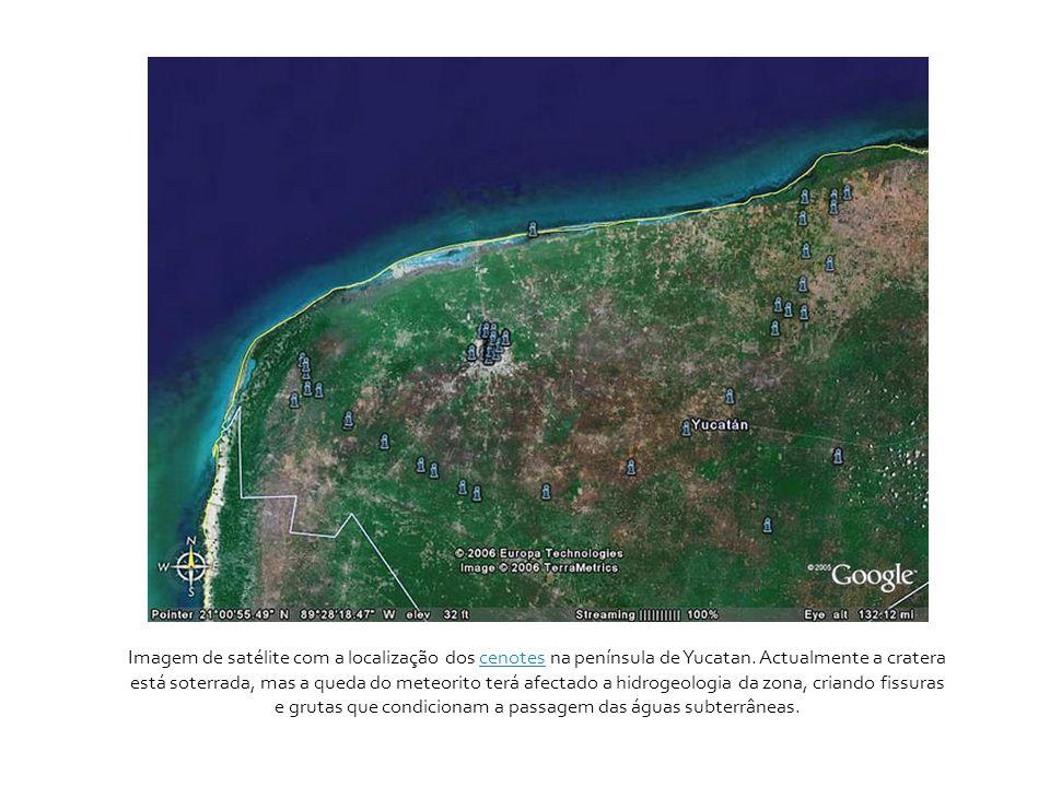 Imagem de satélite com a localização dos cenotes na península de Yucatan.