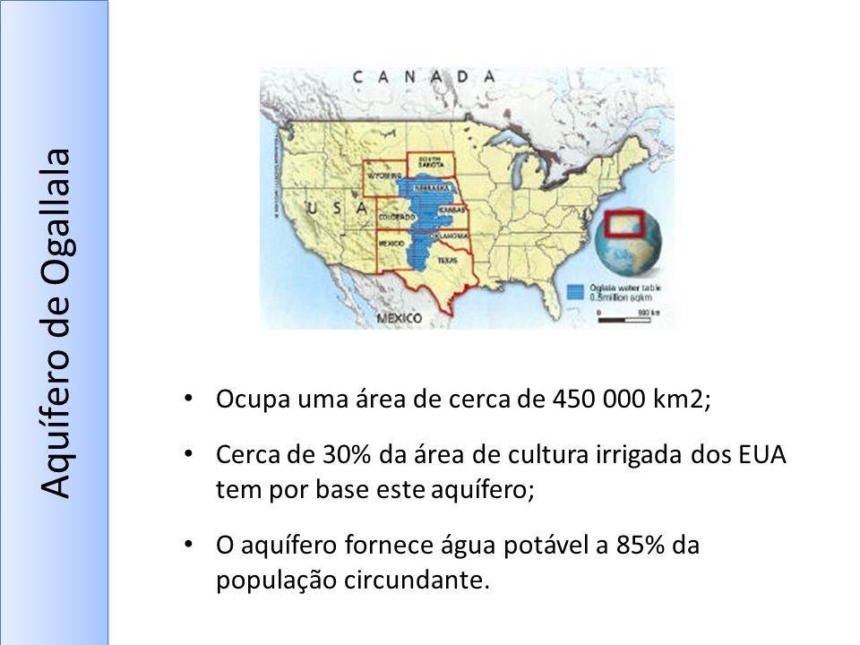Aquífero de Ogallala Ocupa uma área de cerca de 450 000 km2;