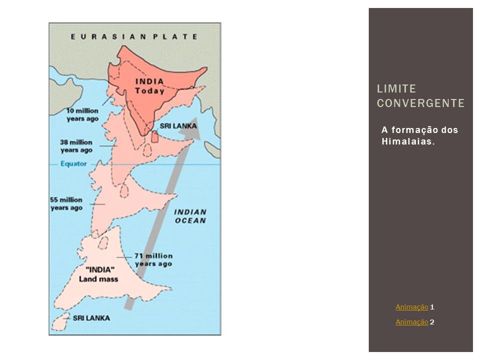 Limite Convergente A formação dos Himalaias. Animação 1 Animação 2