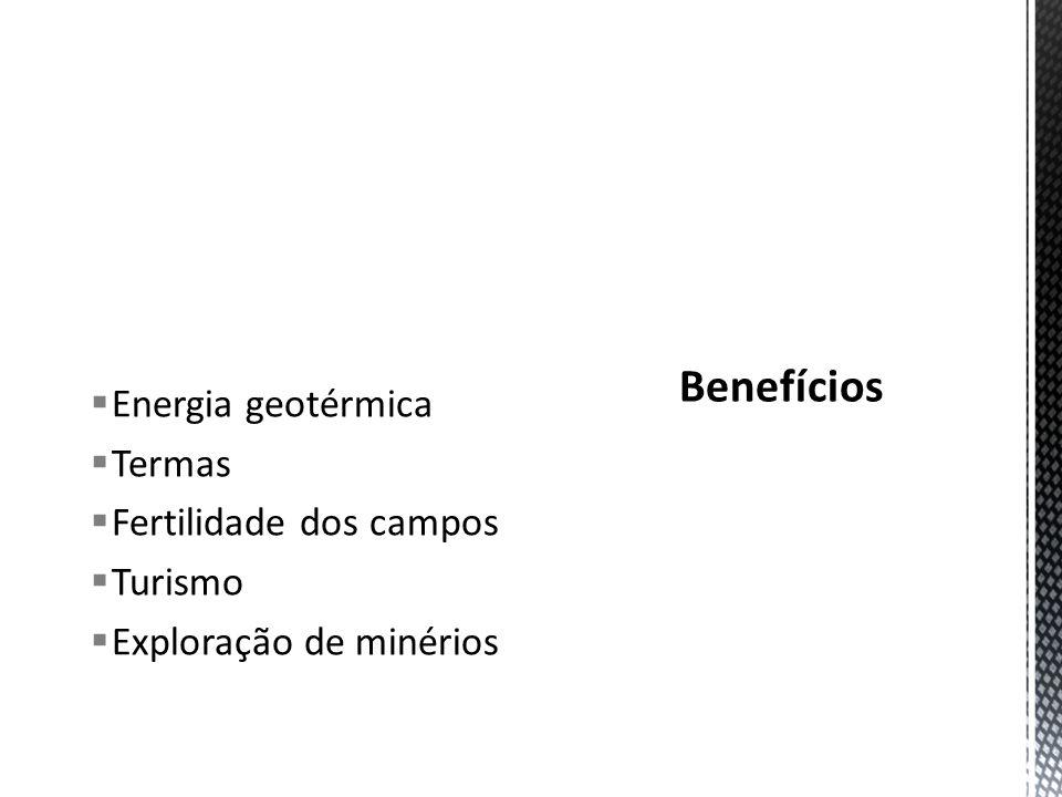 Benefícios Energia geotérmica Termas Fertilidade dos campos Turismo