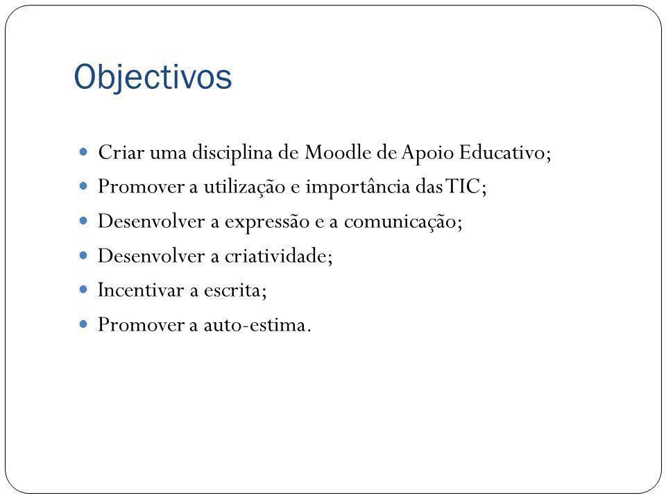 Objectivos Criar uma disciplina de Moodle de Apoio Educativo;