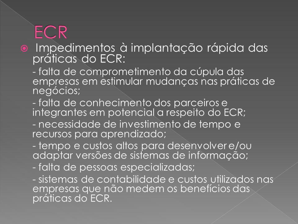 ECR Impedimentos à implantação rápida das práticas do ECR: