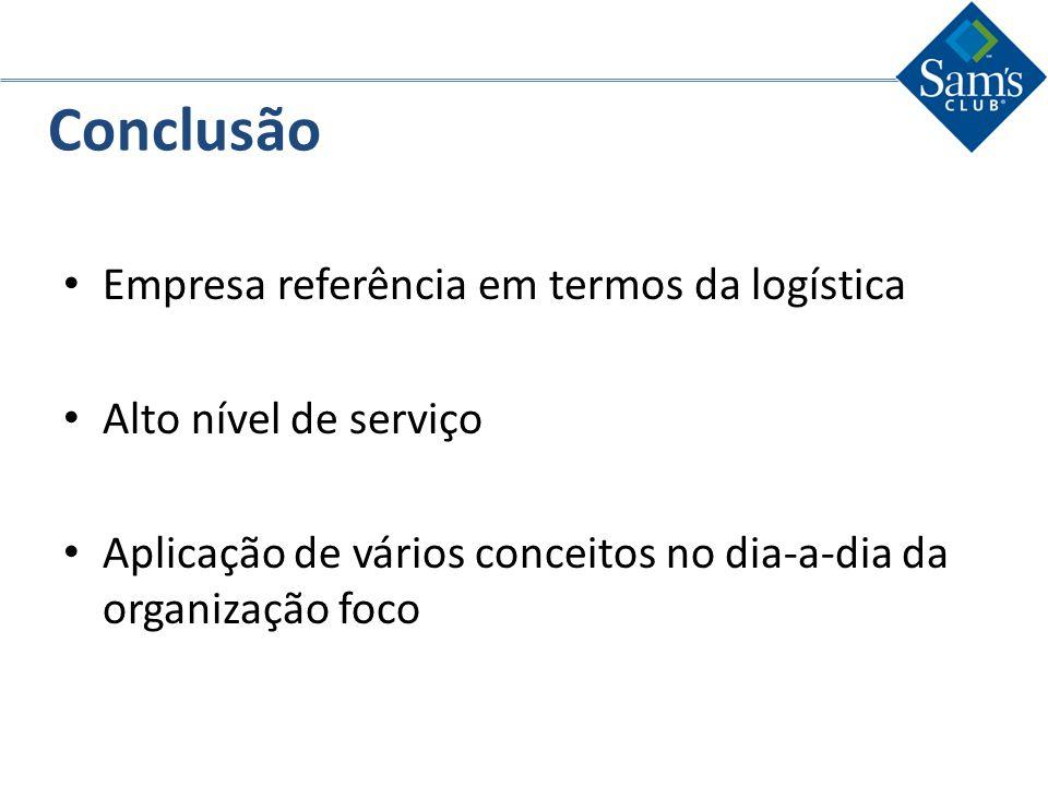 Conclusão Empresa referência em termos da logística. Alto nível de serviço. Aplicação de vários conceitos no dia-a-dia da organização foco.