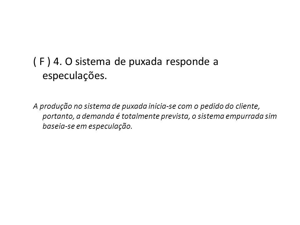 ( F ) 4. O sistema de puxada responde a especulações.