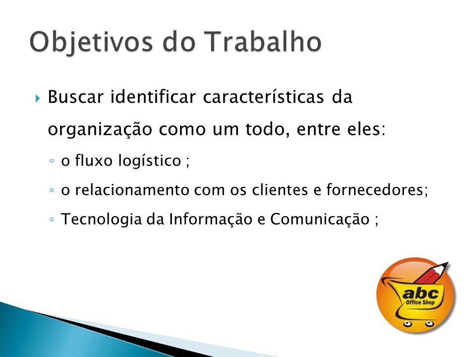 Objetivos do Trabalho Buscar identificar características da organização como um todo, entre eles: o fluxo logístico ;