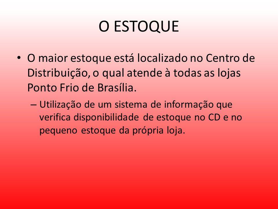 O ESTOQUE O maior estoque está localizado no Centro de Distribuição, o qual atende à todas as lojas Ponto Frio de Brasília.