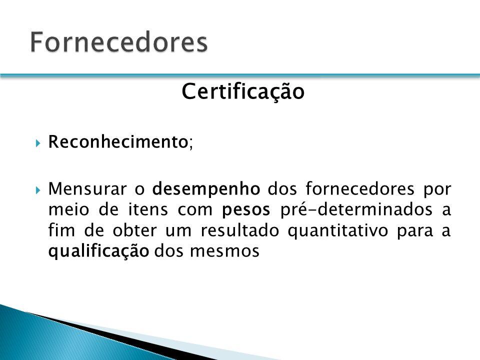 Fornecedores Certificação Reconhecimento;