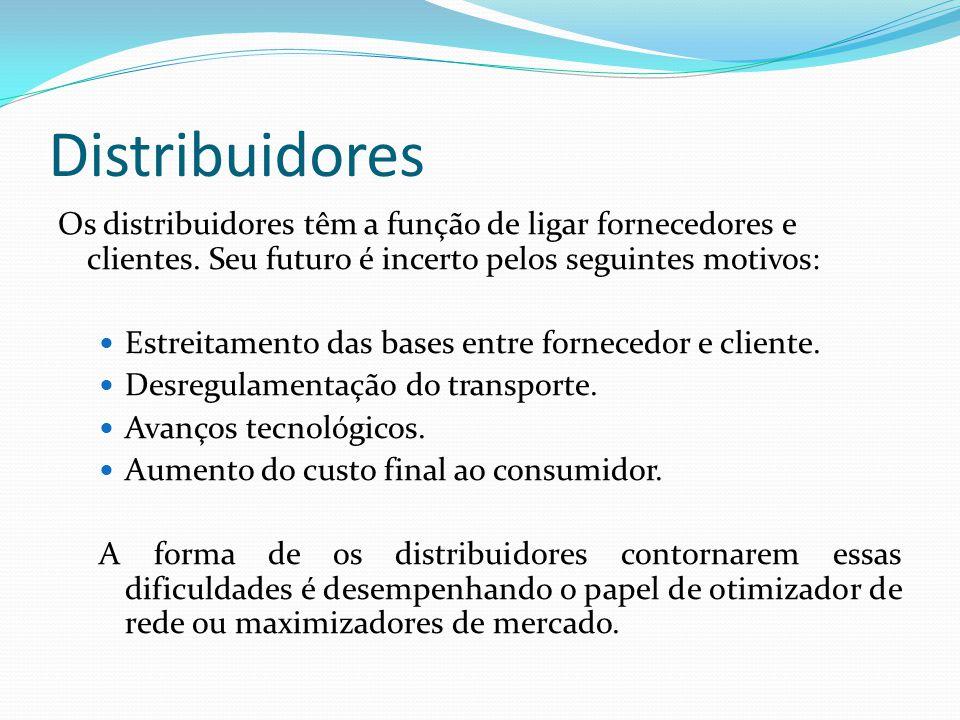 Distribuidores Os distribuidores têm a função de ligar fornecedores e clientes. Seu futuro é incerto pelos seguintes motivos:
