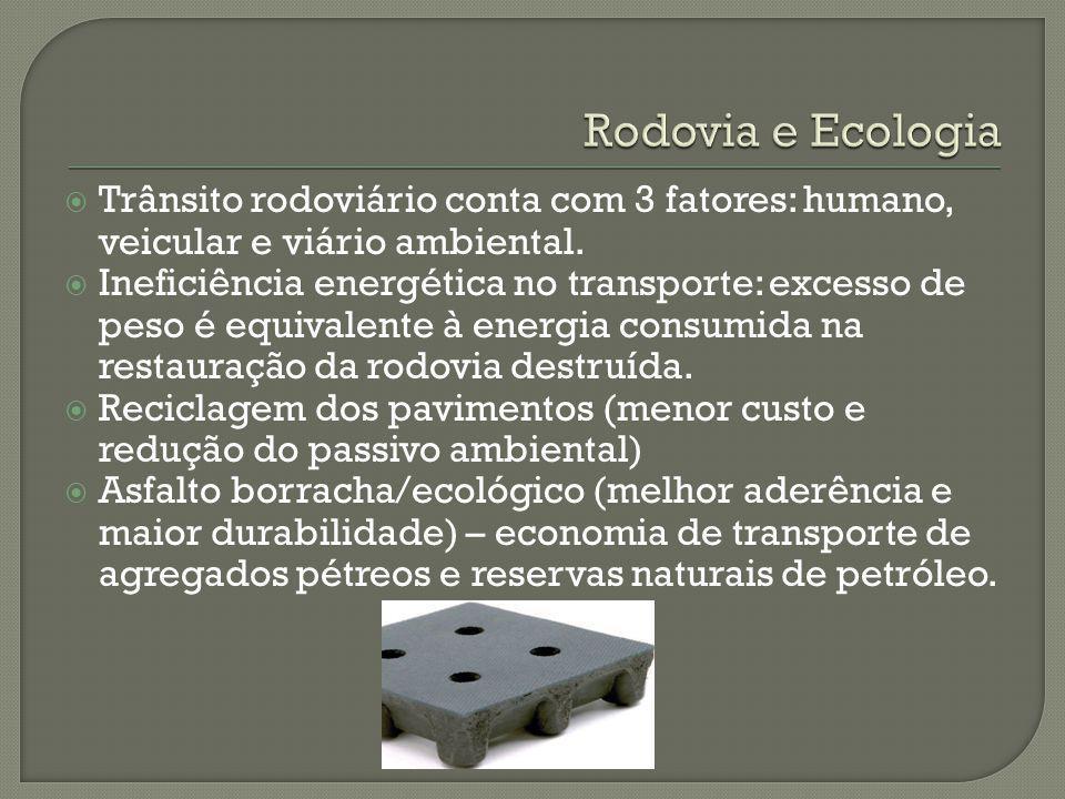 Rodovia e Ecologia Trânsito rodoviário conta com 3 fatores: humano, veicular e viário ambiental.