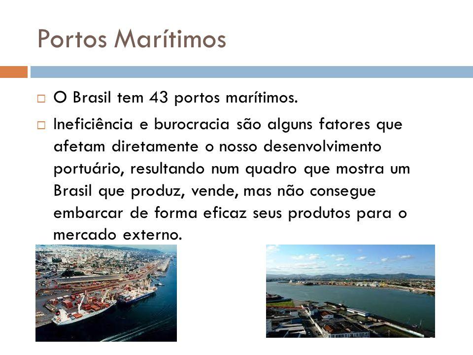 Portos Marítimos O Brasil tem 43 portos marítimos.