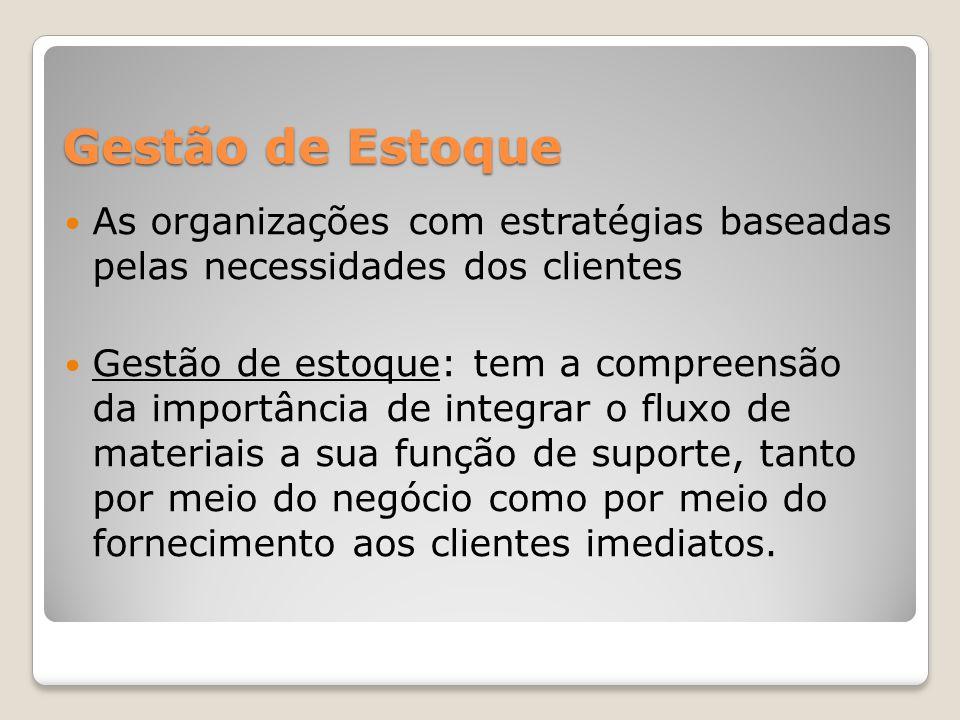 Gestão de Estoque As organizações com estratégias baseadas pelas necessidades dos clientes.