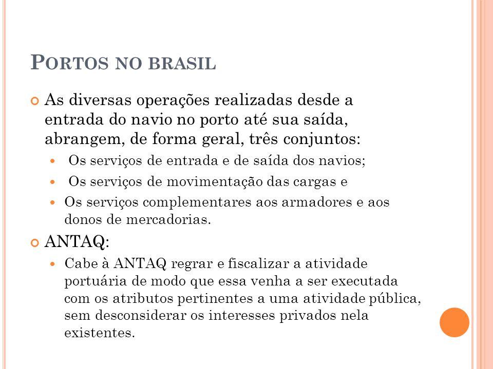 Portos no brasil As diversas operações realizadas desde a entrada do navio no porto até sua saída, abrangem, de forma geral, três conjuntos: